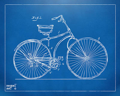 Digital Art - 1890 Bicycle Patent Minimal - Blueprint by Nikki Marie Smith