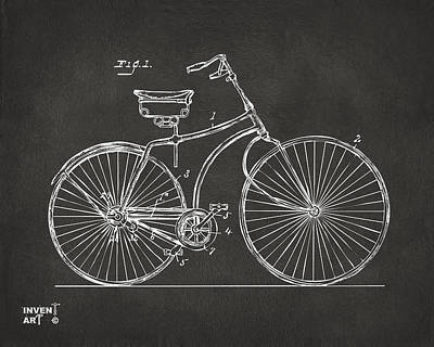 1890 Bicycle Patent Minimal - Gray Art Print by Nikki Marie Smith