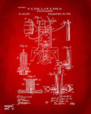 1890 Bottling Machine Patent Artwork Red Art Print by Nikki Marie Smith