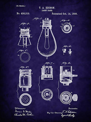 Inventor Photograph - 1890 Edison Lamp Base Patent Art by Barry Jones