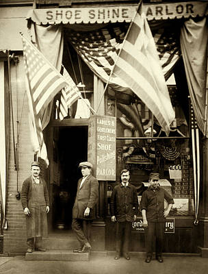 Photograph - 1890 Greek American Shoe Shine Shop Of Boston by Historic Image