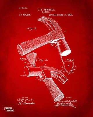 Hammer Digital Art - 1890 Hammer Patent Artwork - Red by Nikki Marie Smith