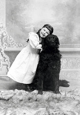 Dog Lovers Photograph - 1890 Happy Girl And Her Retriever  by Historic Image