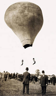 Photograph - 1890 Hot Air Balloon Acrobats by Historic Image