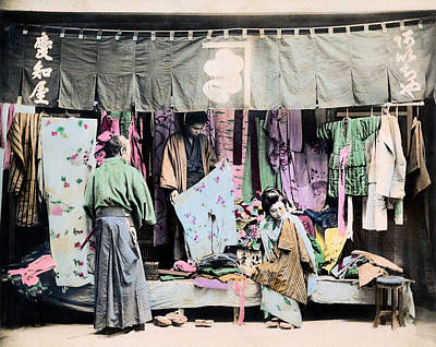 Photograph - 1890 Japanese Couple Buying Fabric by Historic Image