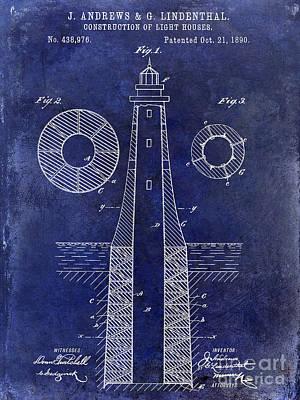 1890 Photograph - 1890 Lighthouse Patent Drawing Blue by Jon Neidert