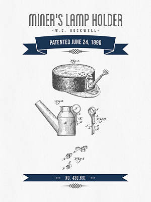 1890 Miners Lamp Holder Patent Drawing - Retro Navy Blue Art Print by Aged Pixel