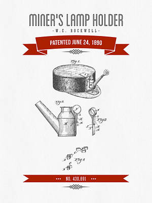 1890 Miners Lamp Holder Patent Drawing - Retro Red Art Print by Aged Pixel