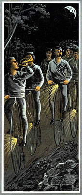 Painting - 1890 Nocturnal Bike Team  by Historic Image
