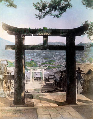 Photograph - 1890 Osuwa Temple Gate Of Nagasaki Japan by Historic Image