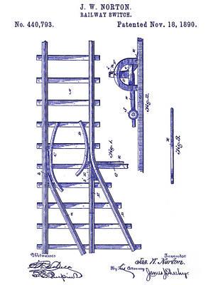 Train Drawing - 1890 Railway Switch Patent Blueprint by Jon Neidert
