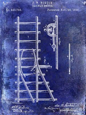 Train Drawing - 1890 Railway Switch Patent Drawing Blue by Jon Neidert