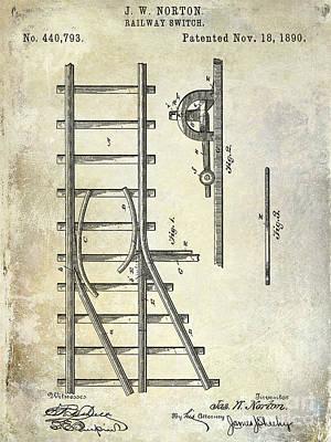 Train Drawing - 1890 Railway Switch Patent Drawing by Jon Neidert