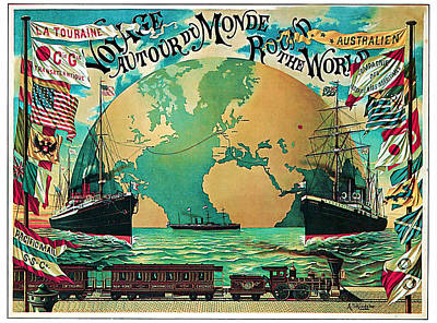 Mixed Media - 1890 Round The World Voyage - Vintage Travel Art by Presented By American Classic Art