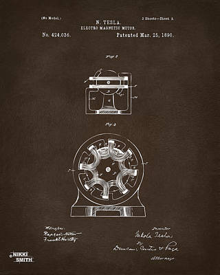 Digital Art - 1890 Tesla Motor Patent Espresso by Nikki Marie Smith