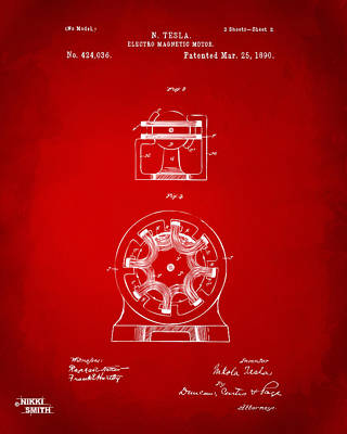 1890 Tesla Motor Patent - Red Print by Nikki Marie Smith