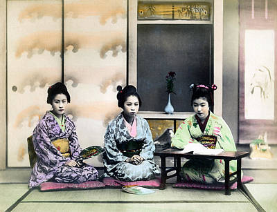 Photograph - 1890 Three Japanese Geisha Girls by Historic Image