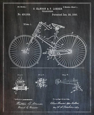 1890 Patent Digital Art - 1890 Velocipede Bicycle Patent by Bill Cannon