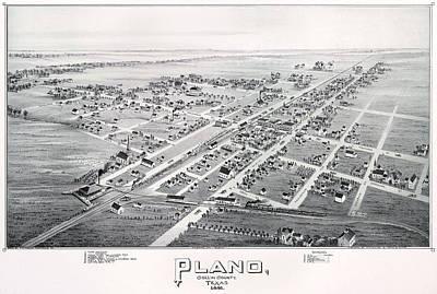 1890 Vintage Map Of Plano Texas Art Print by Stephen Stookey
