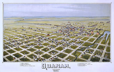 Quanah Parker Photograph - 1890 Vintage Map Of Quanah Texas by Stephen Stookey
