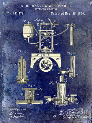 1890 Wine Bottling Machine 2 Tone Blue Art Print by Jon Neidert