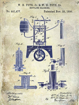 1890 Wine Bottling Machine 2 Tone Art Print by Jon Neidert