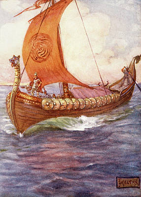 Viking Ship Painting - 1890s Illustration By Kelton Of Beowulf by Vintage Images