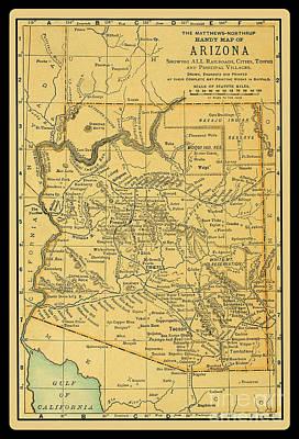 1891 Arizona Map Art Print