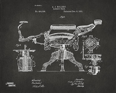 Chairs Digital Art - 1891 Barber's Chair Patent Artwork - Gray by Nikki Marie Smith