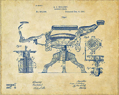 Chairs Digital Art - 1891 Barber's Chair Patent Artwork Vintage by Nikki Marie Smith