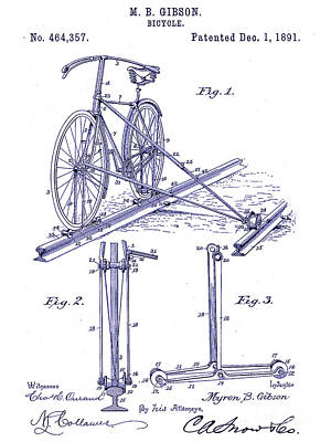 Bicycle Drawing - 1891 Bicycle Patent Blueprint by Jon Neidert