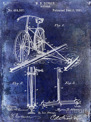 Bicycle Drawing - 1891 Bicycle Patent Drawing Blue by Jon Neidert