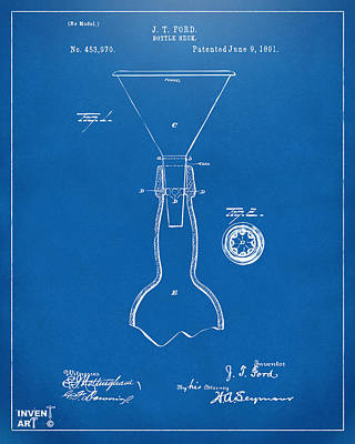 Food And Beverage Drawing - 1891 Bottle Neck Patent Artwork Blueprint by Nikki Marie Smith