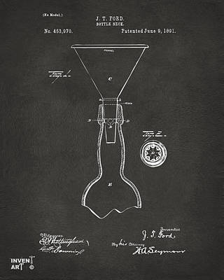 Digital Art - 1891 Bottle Neck Patent Artwork Gray by Nikki Marie Smith
