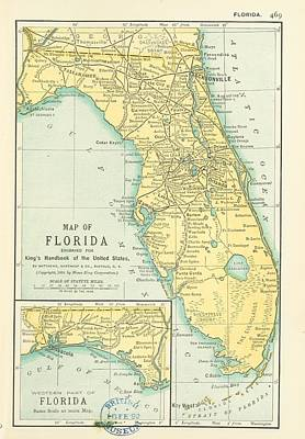 Florida Painting - 1891 Florida by Celestial Images