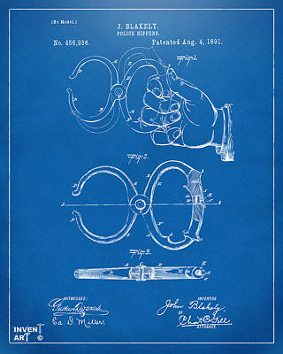 1891 Police Nippers Handcuffs Patent Artwork - Blueprint Art Print by Nikki Marie Smith