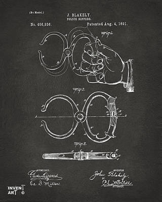 1891 Police Nippers Handcuffs Patent Artwork - Gray Art Print by Nikki Marie Smith