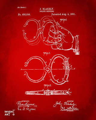1891 Police Nippers Handcuffs Patent Artwork - Red Art Print by Nikki Marie Smith
