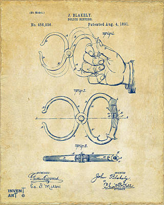 1891 Police Nippers Handcuffs Patent Artwork - Vintage Art Print by Nikki Marie Smith