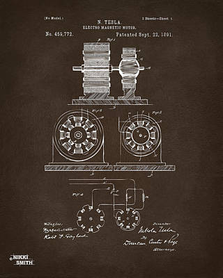 Cave Digital Art - 1891 Tesla Electro Magnetic Motor Patent Espresso by Nikki Marie Smith