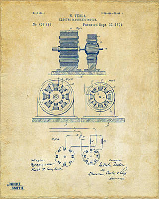 1891 Tesla Electro Magnetic Motor Patent - Vintage Print by Nikki Marie Smith