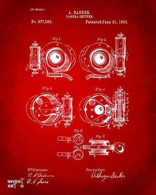 Digital Art - 1892 Barker Camera Shutter Patent Red by Nikki Marie Smith