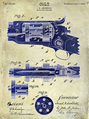 Smith And Wesson Photograph - 1892 Colt Patent Drawing 2 Tone by Jon Neidert