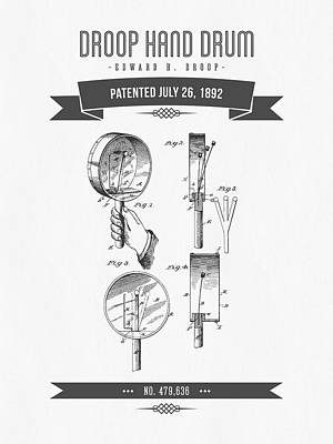 Drum Mixed Media - 1892 Droop Hand Drum Patent Drawing by Aged Pixel