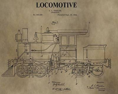 1892 Locomotive Patent Art Print