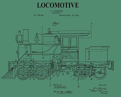 Passengers Mixed Media - 1892 Locomotive Patent On Green by Dan Sproul
