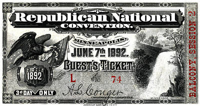 Conservative Painting - 1892 Republican Convention Ticket by Historic Image
