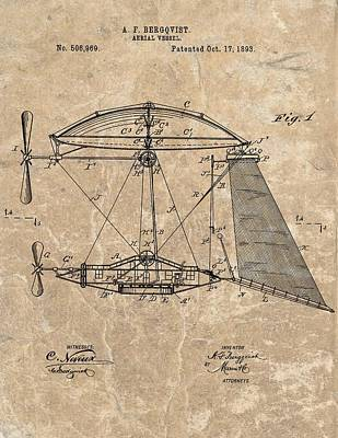 Jet Mixed Media - 1893 Aerial Vessel Patent by Dan Sproul