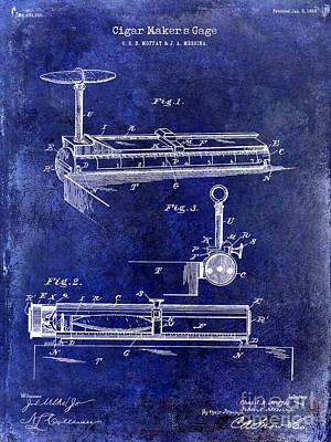 Havana Photograph - 1893 Cigar Makers Gage Patent Drawing Blue by Jon Neidert