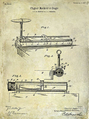 1893 Cigar Makers Gage Patent Drawing  Art Print